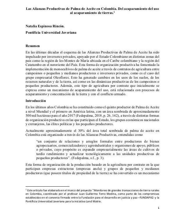 Las Alianzas Productivas de Palma de Aceite en Colombia_Espinosa