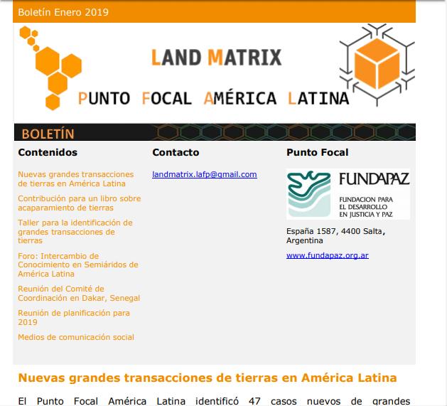 33 - Enero 2019 Land Matrix LAFP