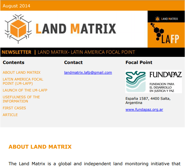 01 - August 2014 Land Matrix LAFP Newsletter