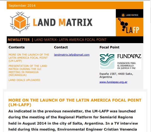 03 - September 2014 Land Matrix LAFP Newsletter