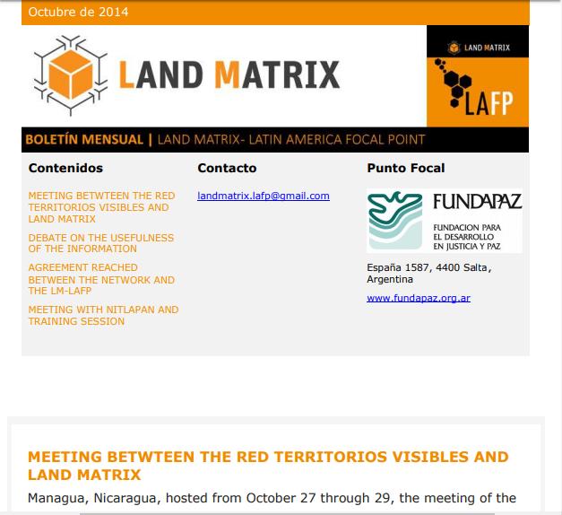 05 - October 2014 Land Matrix LAFP Newsletter