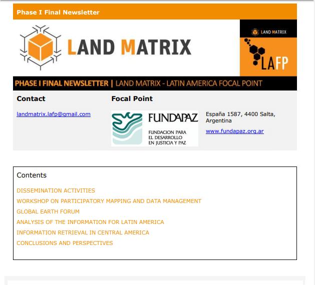 11 - Phase I Final Newsletter Land Matrix-LAFP