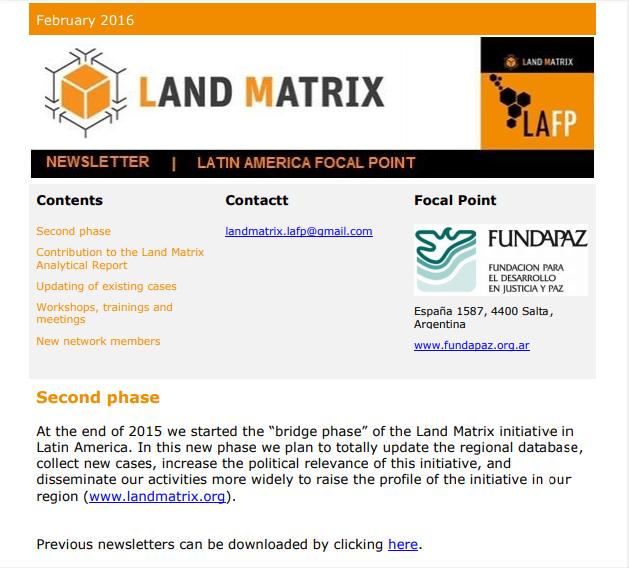 16 - February 2016 Land Matrix LAFP Newsletter